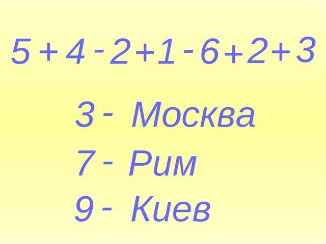 5 + 4 - 2 + 1 - 6 + 2 + 3 3 - Москва 7 - Рим 9 - Киев