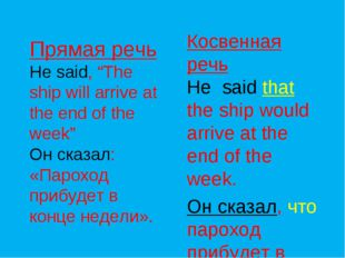 "Прямая речь He said, ""The ship will arrive at the end of the week"" Он сказал:"