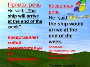 "Прямая речь He said, ""The ship will arrive at the end of the week"" представля"