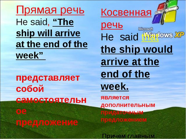 "Прямая речь He said, ""The ship will arrive at the end of the week"" представля..."