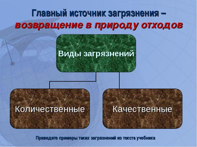 Главный источник загрязнения –возвращение в природу отходов Приведите примеры...