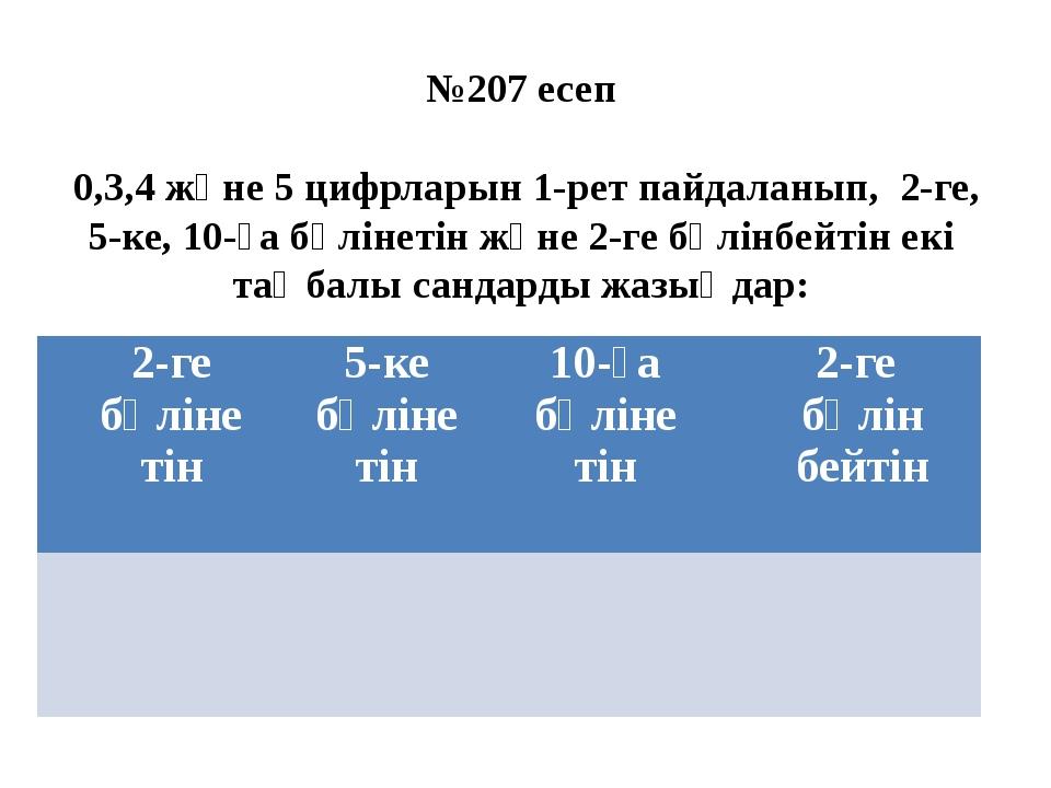 №207 есеп 0,3,4 және 5 цифрларын 1-рет пайдаланып, 2-ге, 5-ке, 10-ға бөлінеті...
