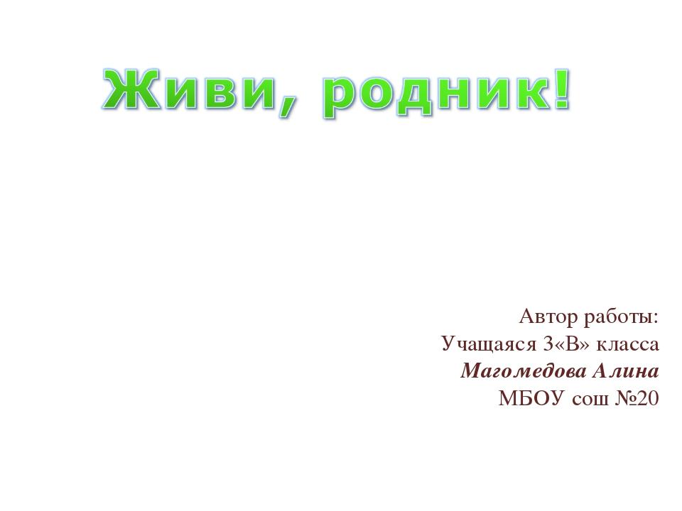 Автор работы: Учащаяся 3«В» класса Магомедова Алина МБОУ сош №20