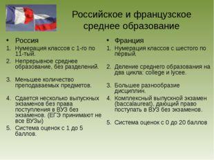 Российское и французское среднее образование Россия Нумерация классов с 1-го