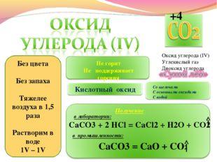 Оксид углерода (IV) Углекислый газ Диоксид углерода Без цвета Без запаха Тяже