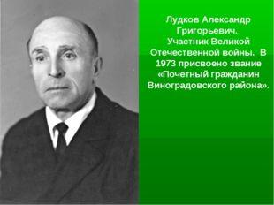 Лудков Александр Григорьевич. Участник Великой Отечественной войны. В 1973 пр