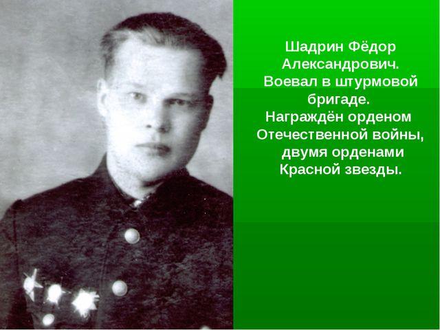 Шадрин Фёдор Александрович. Воевал в штурмовой бригаде. Награждён орденом Оте...