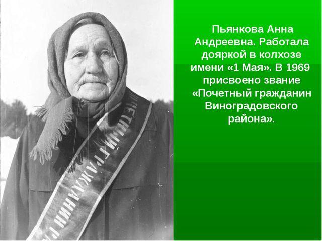 Пьянкова Анна Андреевна. Работала дояркой в колхозе имени «1 Мая». В 1969 пр...
