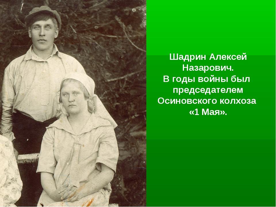 Шадрин Алексей Назарович. В годы войны был председателем Осиновского колхоза...