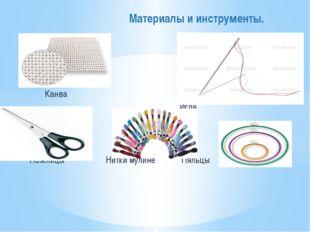 Канва Игла Ножницы Нитки мулине Пяльцы Материалы и инструменты.