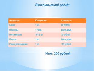 Экономический расчёт. Итог: 200 рублей Название Количество Стоимость Канва 1ш