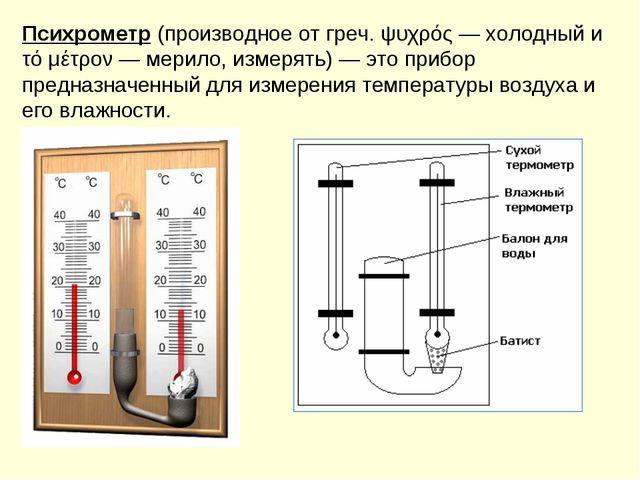 Психрометр(производное от греч. ψυχρός — холодный и τό μέτρον — мерило, изме...