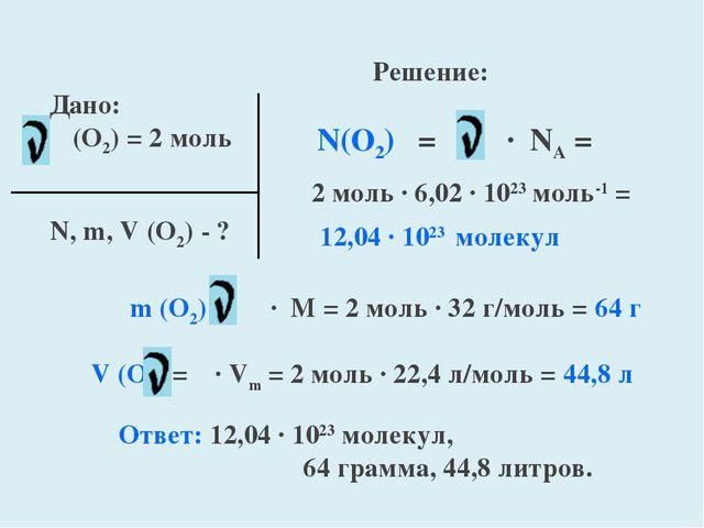 Дано: (O2) = 2 моль N, m, V (O2) - ? Решение: N(O2) = ∙ NA = 2 моль ∙ 6,02 ∙...