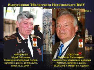 Выпускники Тбилисского Нахимовского ВМУ удостоенные звания Героя Советского С