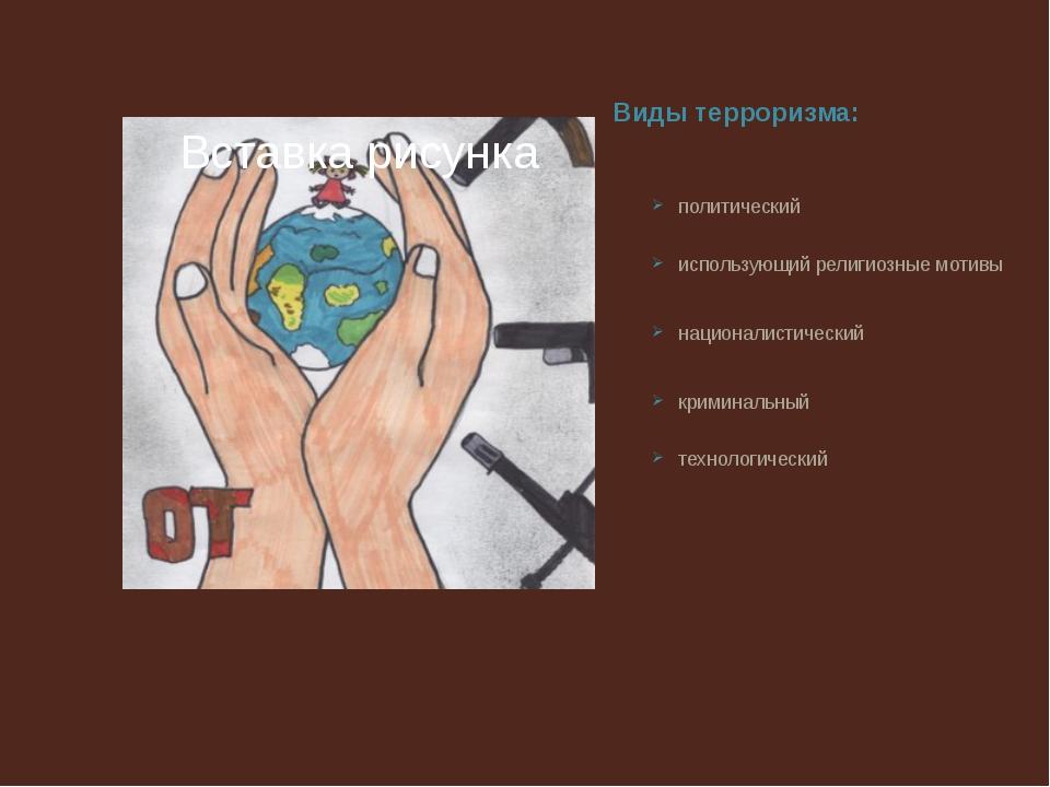 Виды терроризма: политический использующий религиозные мотивы националистичес...