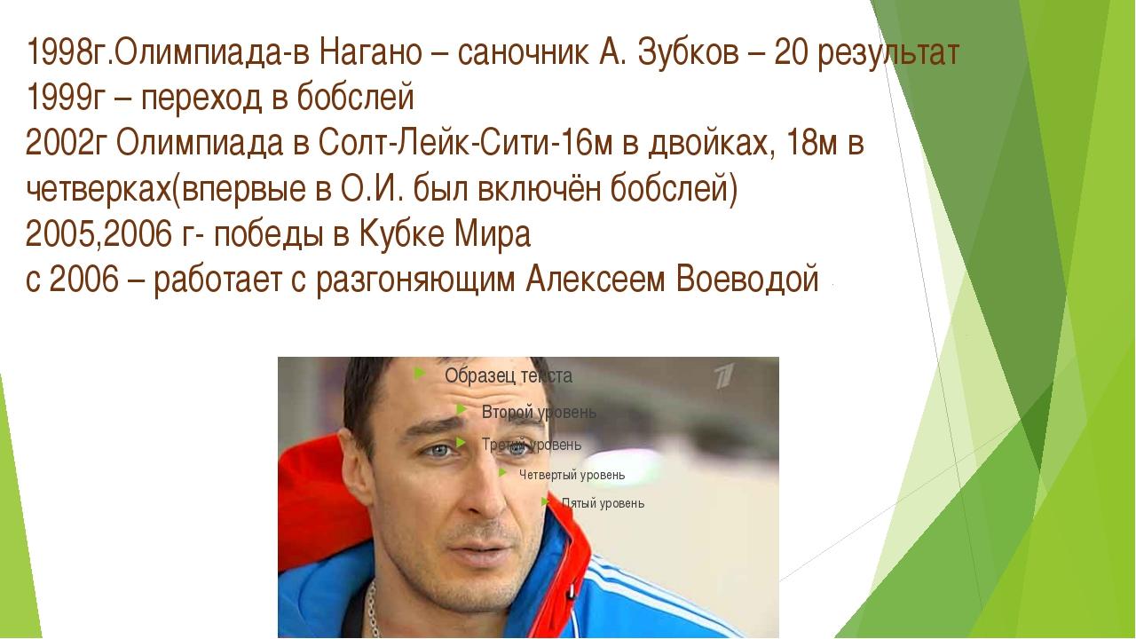 1998г.Олимпиада-в Нагано – саночник А. Зубков – 20 результат 1999г – переход...