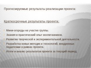 Прогнозируемые результаты реализации проекта: Краткосрочные результаты проект