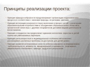 Принципы реализации проекта: Принципприродосообразностипредусматривает орга