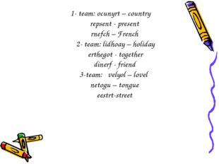 1- team: ocunyrt – country repsent - present rnefch – French 2- team: lidhoay
