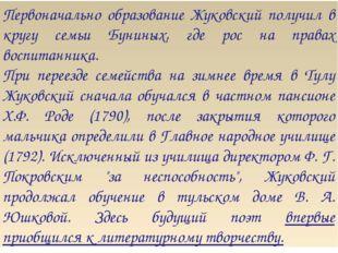 Первоначально образование Жуковский получил в кругу семьи Буниных, где рос на