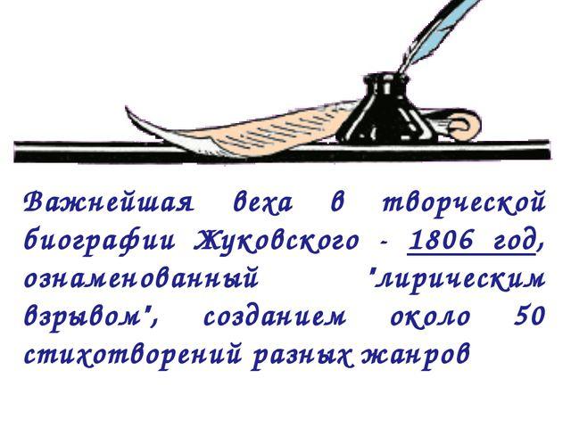 """Важнейшая веха в творческой биографии Жуковского - 1806 год, ознаменованный """"..."""