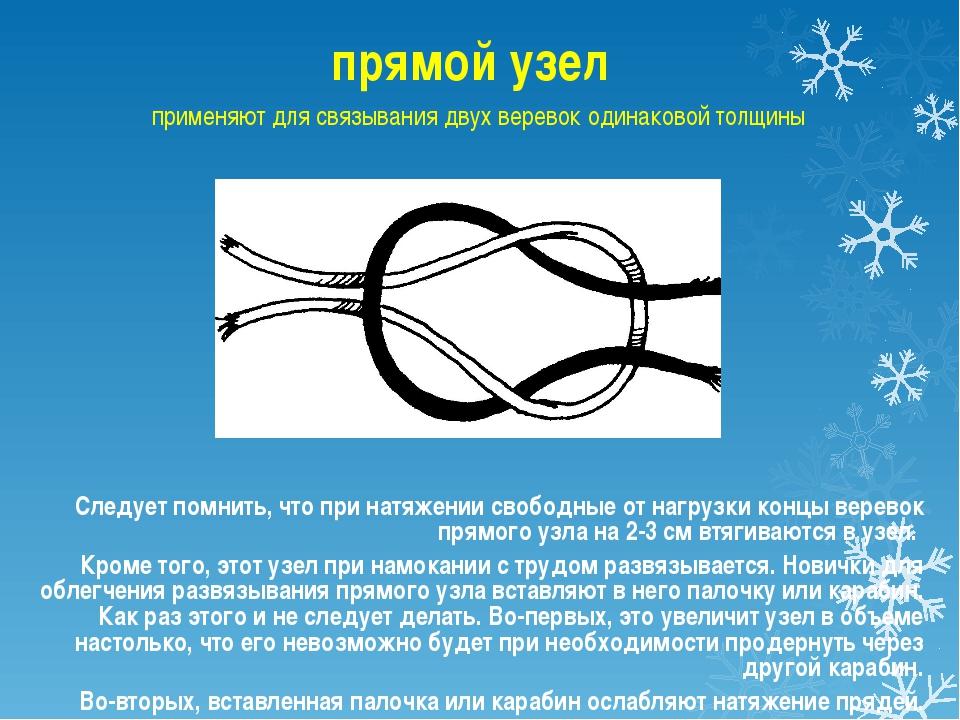 прямой узел применяют для связывания двух веревок одинаковой толщины Следует...