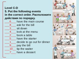 Level C-D 5. Put the following events in the correct order. Расположите дейс