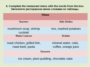 6. Complete the restaurant menu with the words from the box. Заполните рестор