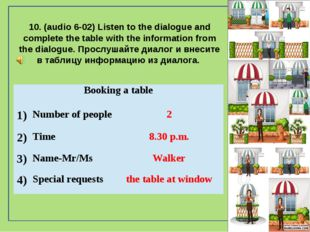 10. (audio 6-02) Listen to the dialogue and complete the table with the info