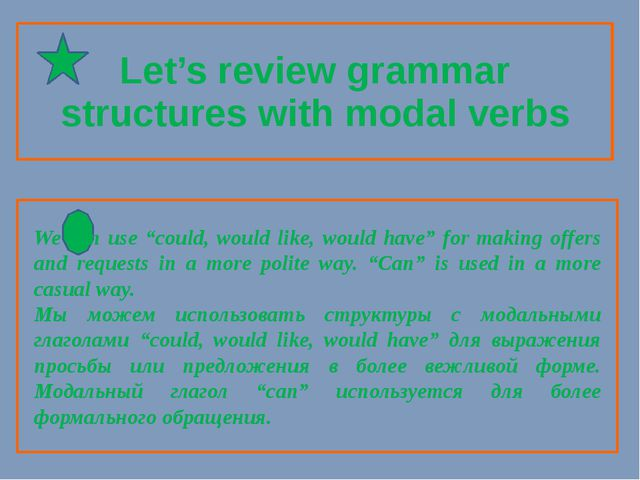 "Let's review grammar structures with modal verbs 	 We can use ""could, would l..."
