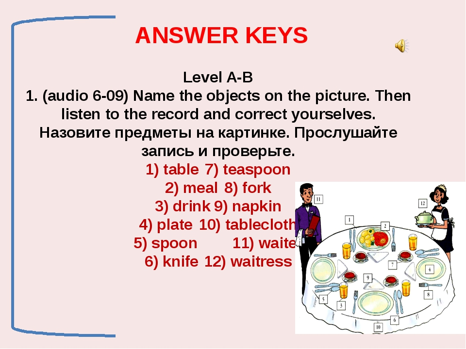 Level A-B 1. (audio 6-09) Name the objects on the picture. Then listen to th...