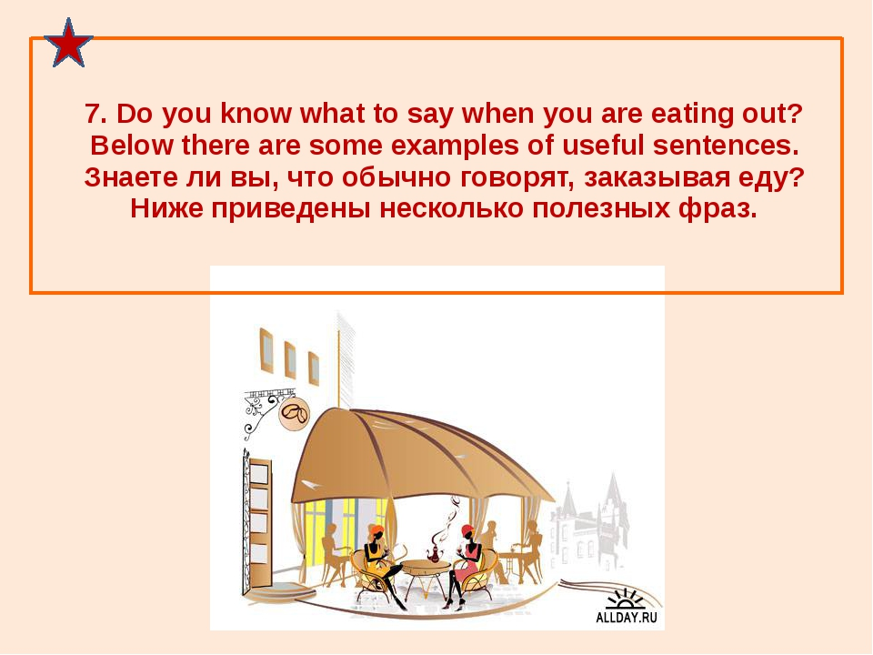7. Do you know what to say when you are eating out? Below there are some exam...