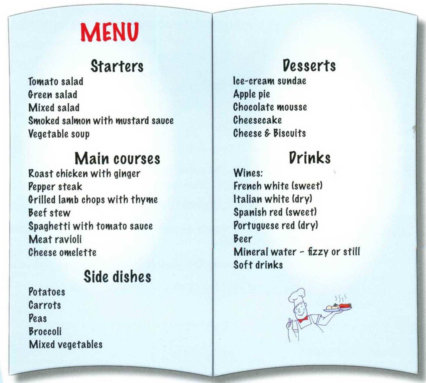 Английский язык в картинках ресторан, большая сердце