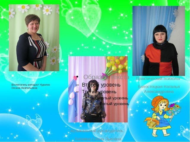 Воспитатель-методист Курилко Оксана Анатольевна музыкальный руководитель Бел...