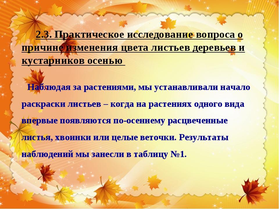2.3. Практическое исследование вопроса о причине изменения цвета листьев дере...