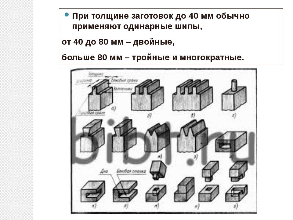 При толщине заготовок до 40 мм обычно применяют одинарные шипы, от 40 до 80 м...