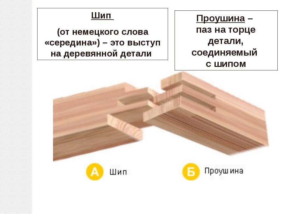 Шип (от немецкого слова «середина») – это выступ на деревянной детали Проушин...