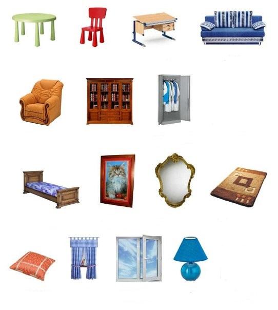 Английский в картинках для детей мебель распечатать