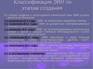 Классификация ЭВМ по этапам создания По этапам создания и используемой элемен