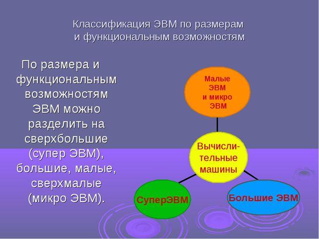 Классификация ЭВМ по размерам и функциональным возможностям По размера и функ...