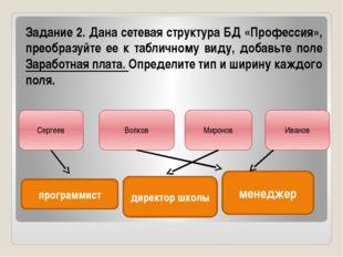 Задание 2. Дана сетевая структура БД «Профессия», преобразуйте ее к табличном