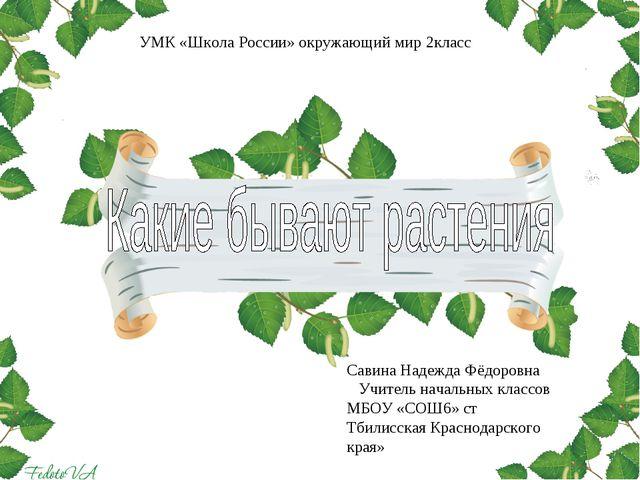 Савина Надежда Фёдоровна Учитель начальных классов МБОУ «СОШ6» ст Тбилисская...
