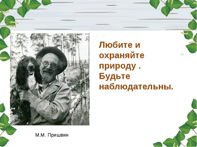 М.М. Пришвин Любите и охраняйте природу . Будьте наблюдательны.