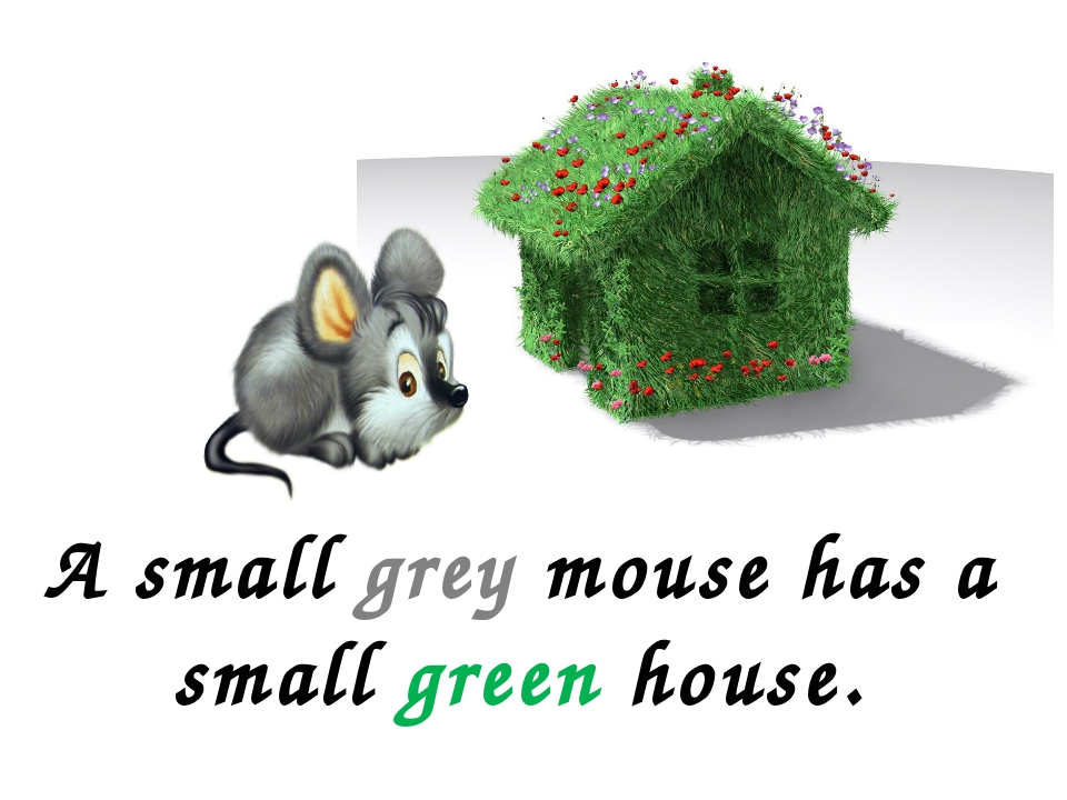 A small grey mouse has a small green house.