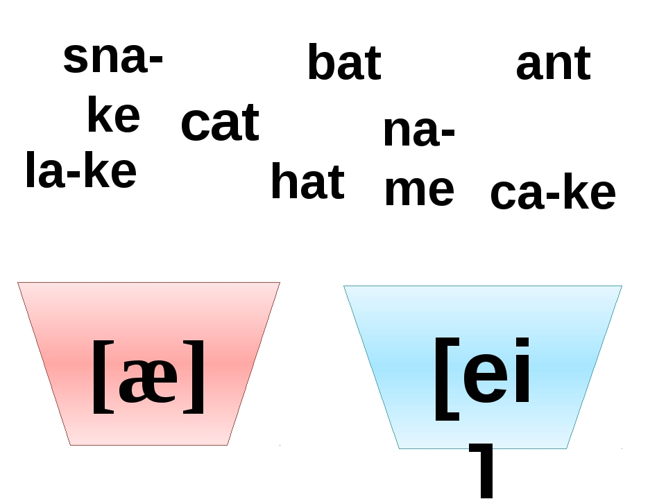 [æ] [ei] cat sna-ke bat na-me ant la-ke hat ca-ke