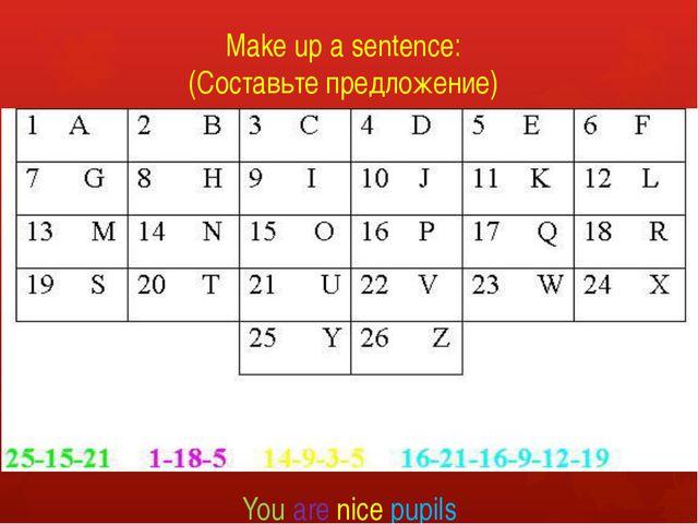 Make up a sentence: (Составьте предложение) You are nice pupils