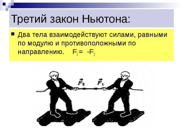 Третий закон Ньютона: Два тела взаимодействуют силами, равными по модулю и пр...