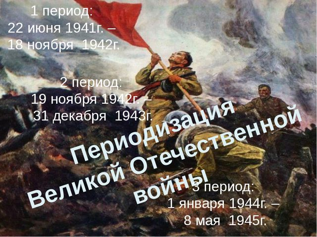 Периодизация Великой Отечественной войны 1 период: 22 июня 1941г. – 18 но...
