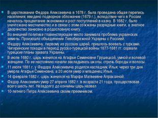 В царствование Федора Алексеевича в 1678 г. была проведена общая перепись на
