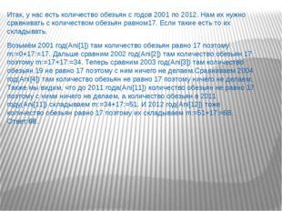 Итак, у нас есть количество обезьян с годов 2001 по 2012. Нам их нужно сравни